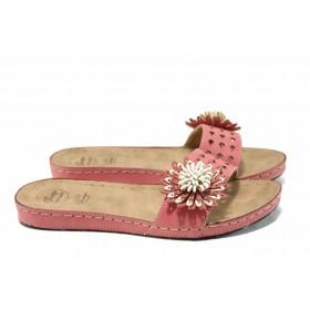 Дамски чехли - висококачествена еко-кожа - розови - EO-11188