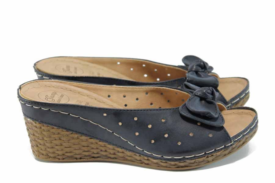Дамски чехли - висококачествена еко-кожа - черни - EO-11185