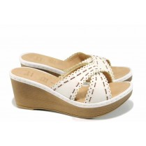 Дамски чехли - висококачествена еко-кожа - бели - EO-11184