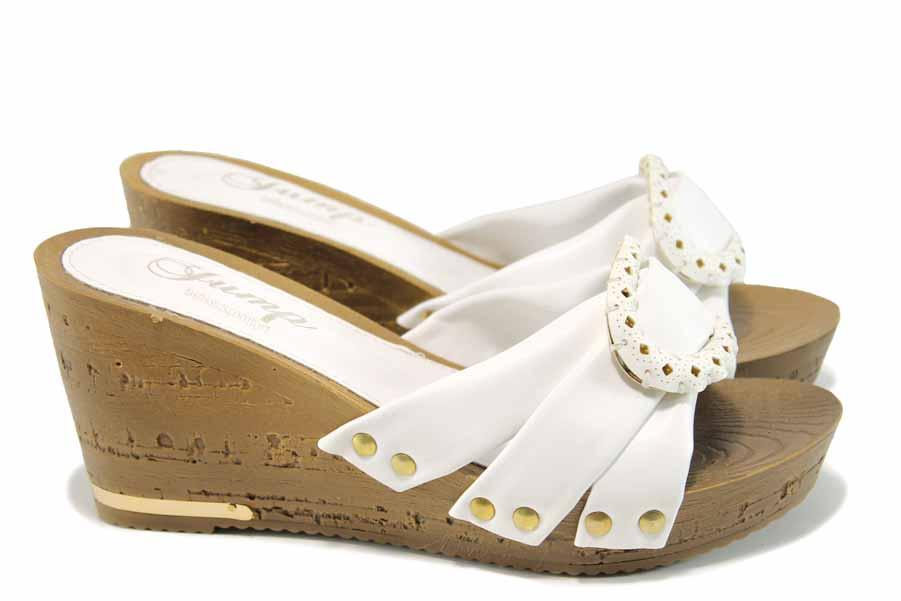 Дамски чехли - висококачествена еко-кожа - бели - EO-11182