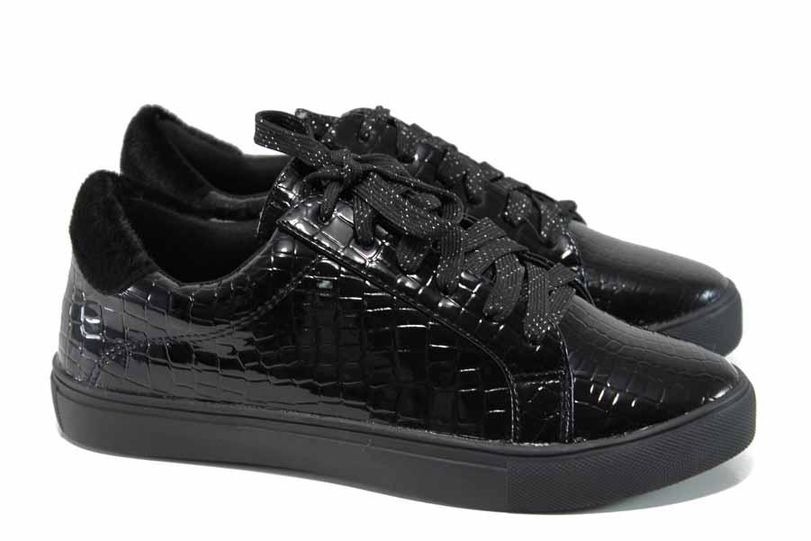 Равни дамски обувки - висококачествена еко-кожа - черни - EO-11189