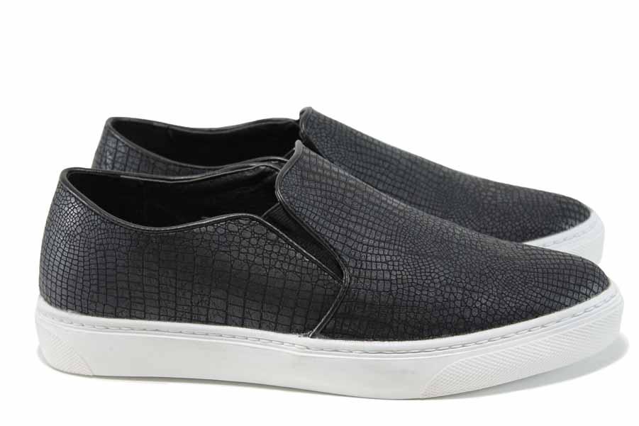 Равни дамски обувки - висококачествена еко-кожа - черни - EO-11208