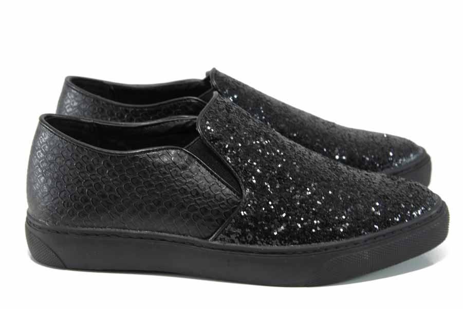 Равни дамски обувки - висококачествена еко-кожа - черни - EO-11207