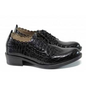 Дамски обувки на среден ток - естествена кожа - черни - EO-11253