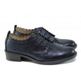 Дамски обувки на среден ток - естествена кожа - сини - EO-11252