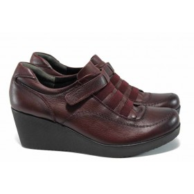 Равни дамски обувки - естествена кожа - бордо - EO-11323