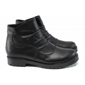 Дамски боти - естествена кожа - черни - EO-11292