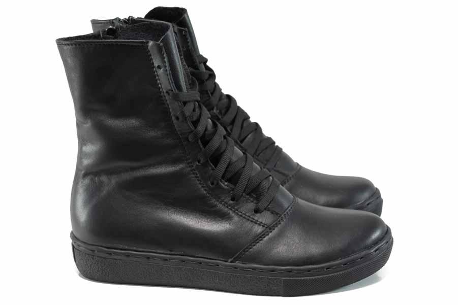 Дамски боти - естествена кожа - черни - EO-11301