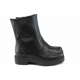 Дамски боти - естествена кожа - черни - EO-11302