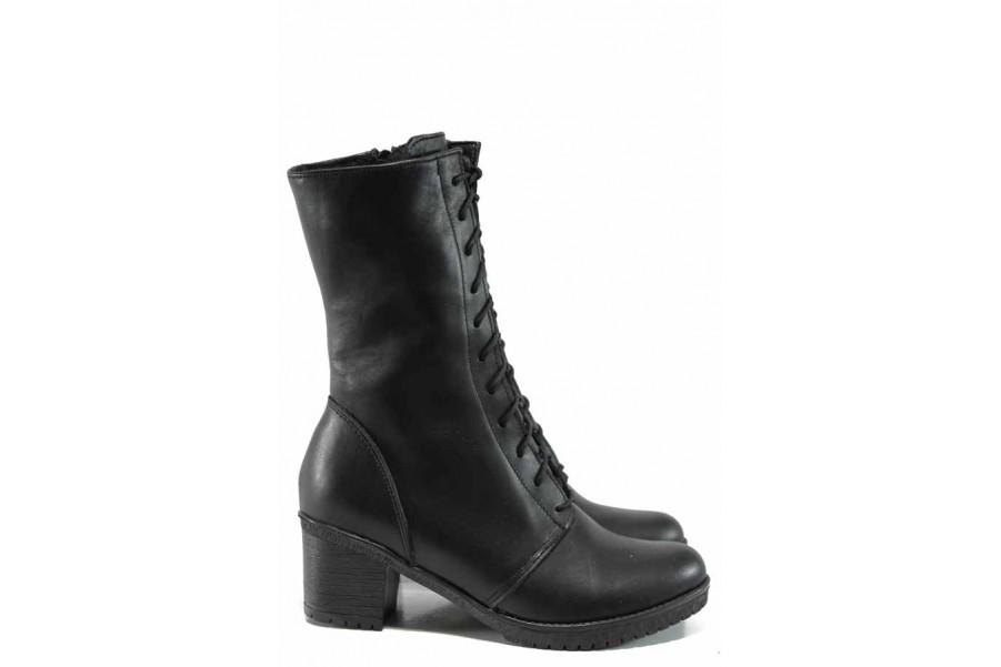 Дамски боти - естествена кожа - черни - EO-11303