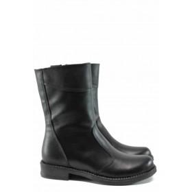 Дамски боти - естествена кожа - черни - EO-11306
