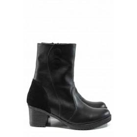 Дамски боти - естествена кожа - черни - EO-11307