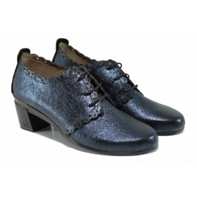 Дамски обувки на среден ток - естествена кожа - сини - EO-11354