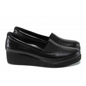 Дамски обувки на среден ток - естествена кожа - черни - EO-11358
