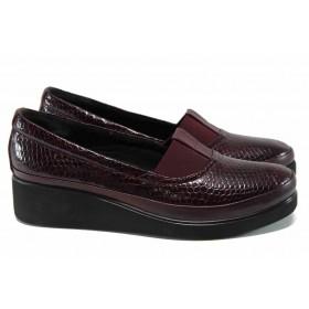 Дамски обувки на среден ток - естествена кожа - бордо - EO-11359