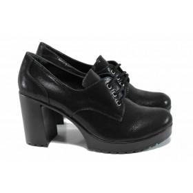 Дамски обувки на висок ток - естествена кожа - черни - EO-11355