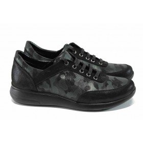 Дамски обувки на среден ток - естествена кожа - зелени - EO-11361