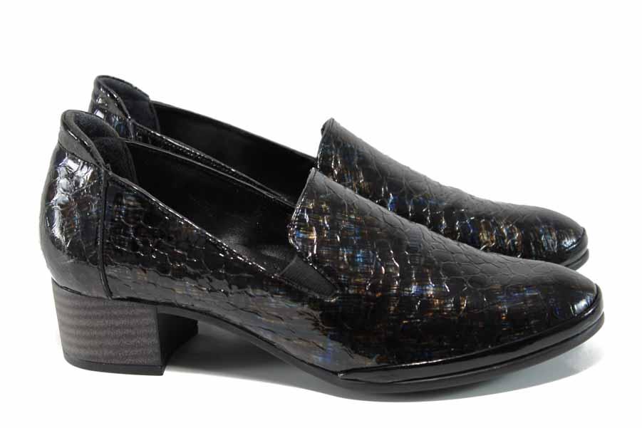 Дамски обувки на среден ток - естествена кожа - кафяви - EO-11357