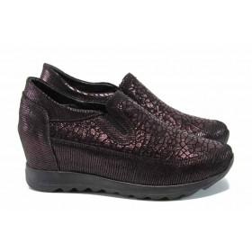 Дамски обувки на платформа - естествена кожа - бордо - EO-11492