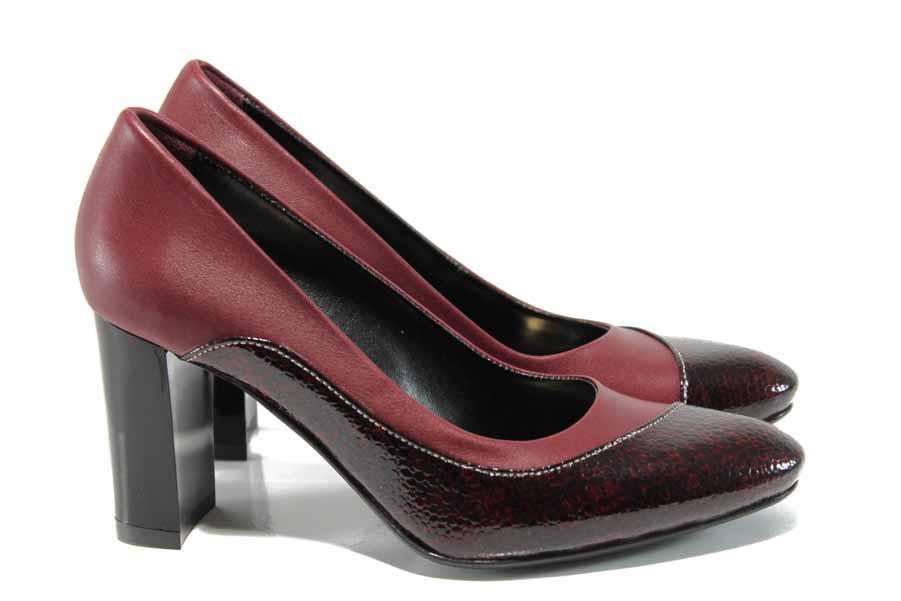 Дамски обувки на висок ток - естествена кожа - бордо - EO-11484