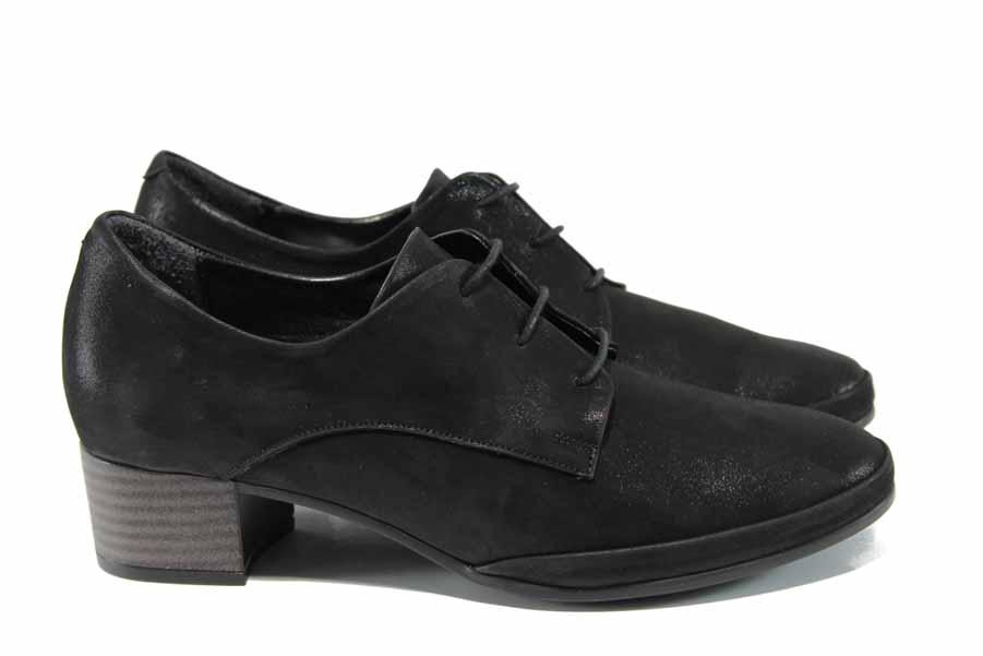 Дамски обувки на среден ток - естествена кожа - черни - EO-11487