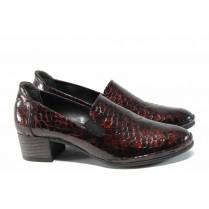 Дамски обувки на среден ток - естествена кожа - бордо - EO-11489