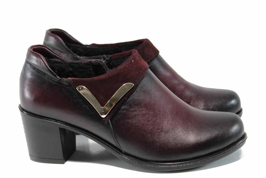 Дамски обувки на среден ток - естествена кожа - бордо - EO-11486