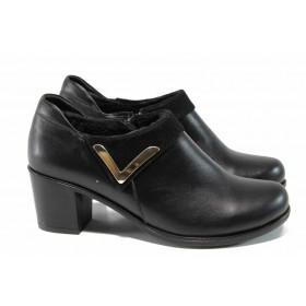 Дамски обувки на среден ток - естествена кожа - черни - EO-11485