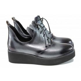 Дамски обувки на платформа - естествена кожа - сиви - EO-11491