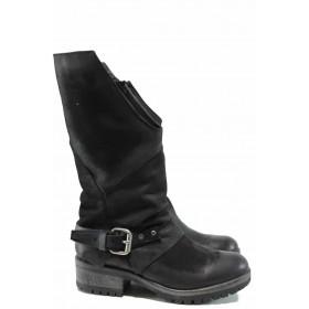 Дамски ботуши - естествена кожа - черни - EO-9313