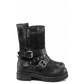 Дамски боти - естествена кожа - черни - EO-11539