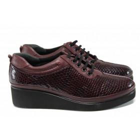 Дамски обувки на платформа - естествена кожа - бордо - EO-11552