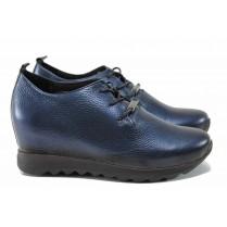Дамски обувки на платформа - естествена кожа - сини - EO-11558