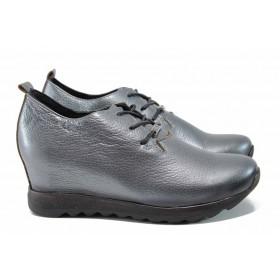 Дамски обувки на платформа - естествена кожа - сиви - EO-11559