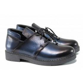 Равни дамски обувки - естествена кожа - сини - EO-11562