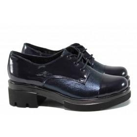 Дамски обувки на среден ток - естествена кожа - сини - EO-11563