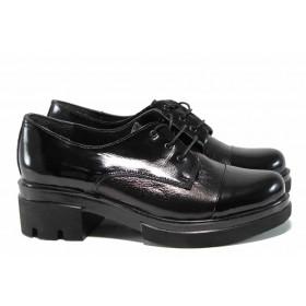 Дамски обувки на среден ток - естествена кожа - черни - EO-11564