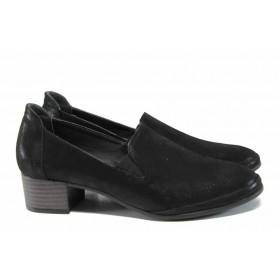 Дамски обувки на среден ток - естествена кожа - черни - EO-11568