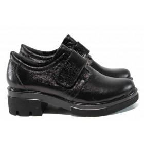 Дамски обувки на среден ток - естествена кожа - черни - EO-11565