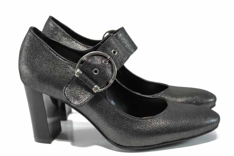 Дамски обувки на висок ток - естествена кожа - сиви - EO-11569