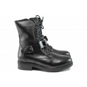Дамски боти - естествена кожа - черни - EO-11605