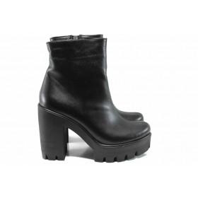 Дамски боти - естествена кожа - черни - EO-11608