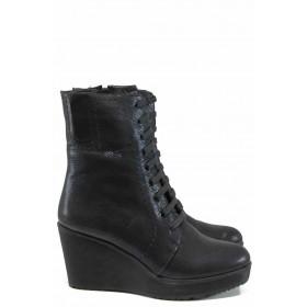 Дамски боти - естествена кожа - черни - EO-11607