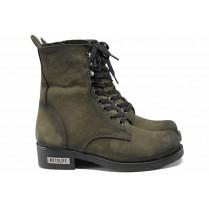 Дамски боти - естествена кожа - зелени - EO-11634