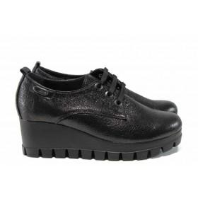 Дамски обувки на платформа - естествена кожа - черни - EO-11638