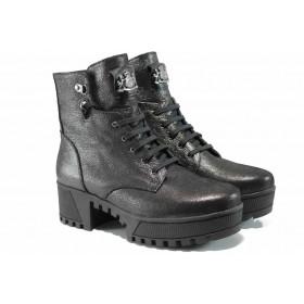 Дамски боти - естествена кожа - черни - EO-11633