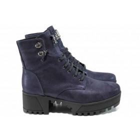 Дамски боти - естествена кожа - сини - EO-11677