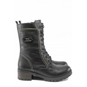 Дамски боти - естествена кожа - черни - EO-13373