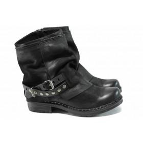 Дамски боти - естествена кожа - черни - EO-11790