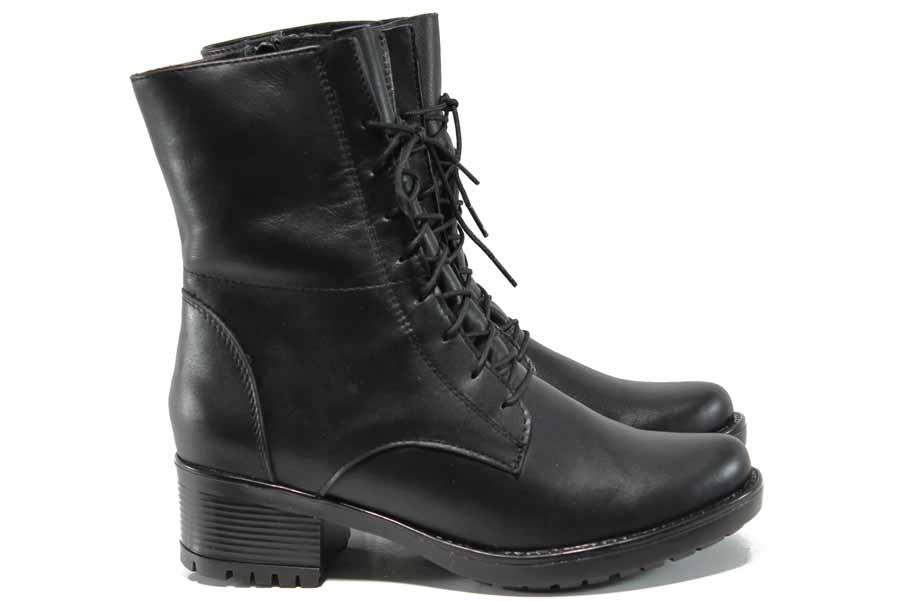 Дамски боти - естествена кожа - черни - EO-11786
